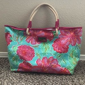 Lilly Pulitzer Large Canvas Tote with Rope Handles